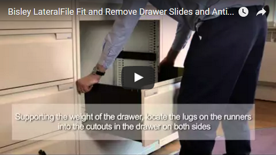 Bisley LateralFile Fit and Remove Drawer Slides and Anti-tilt Mechanism
